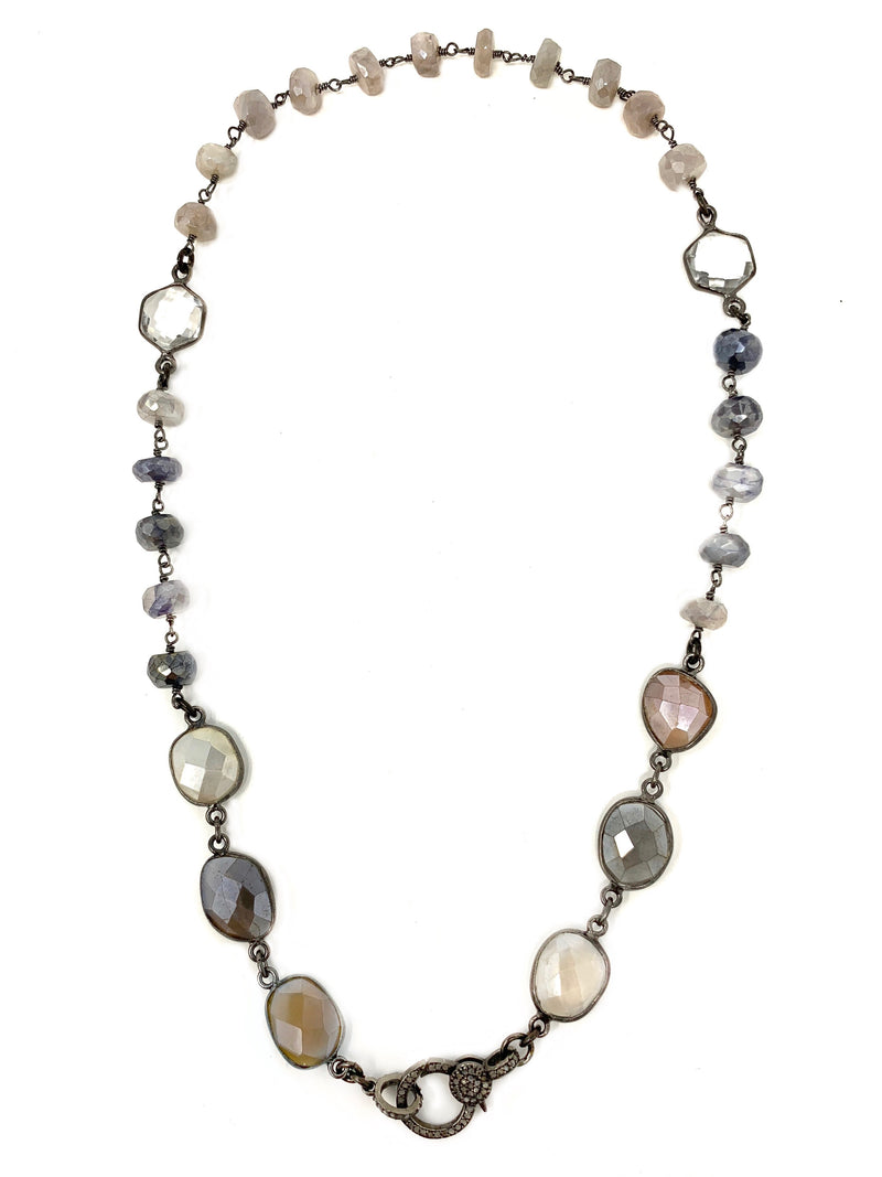 Moonstone, Labradorite and Quartz with Pave Diamond Clasp Chain