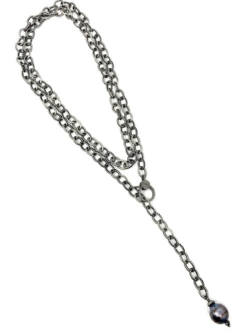Textured Link Chain with Diamond Clasp and Peacock Pearl Necklace, Lariat or Wrap Bracelet