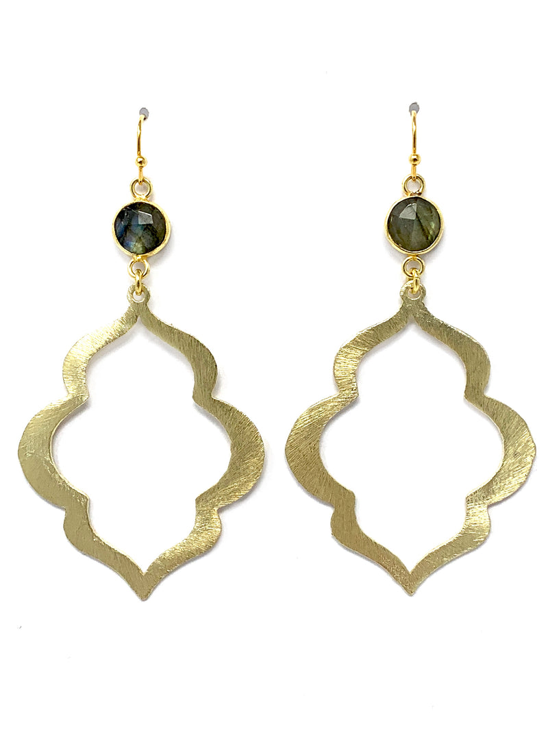 Labradorite and Large Scallop Edge Gold Earrings