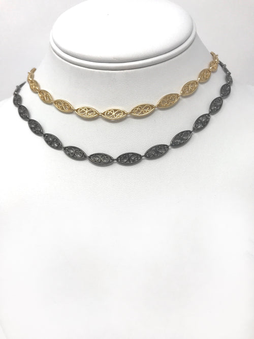 Filigree Chain in Gold or Gunmetal - Necklace