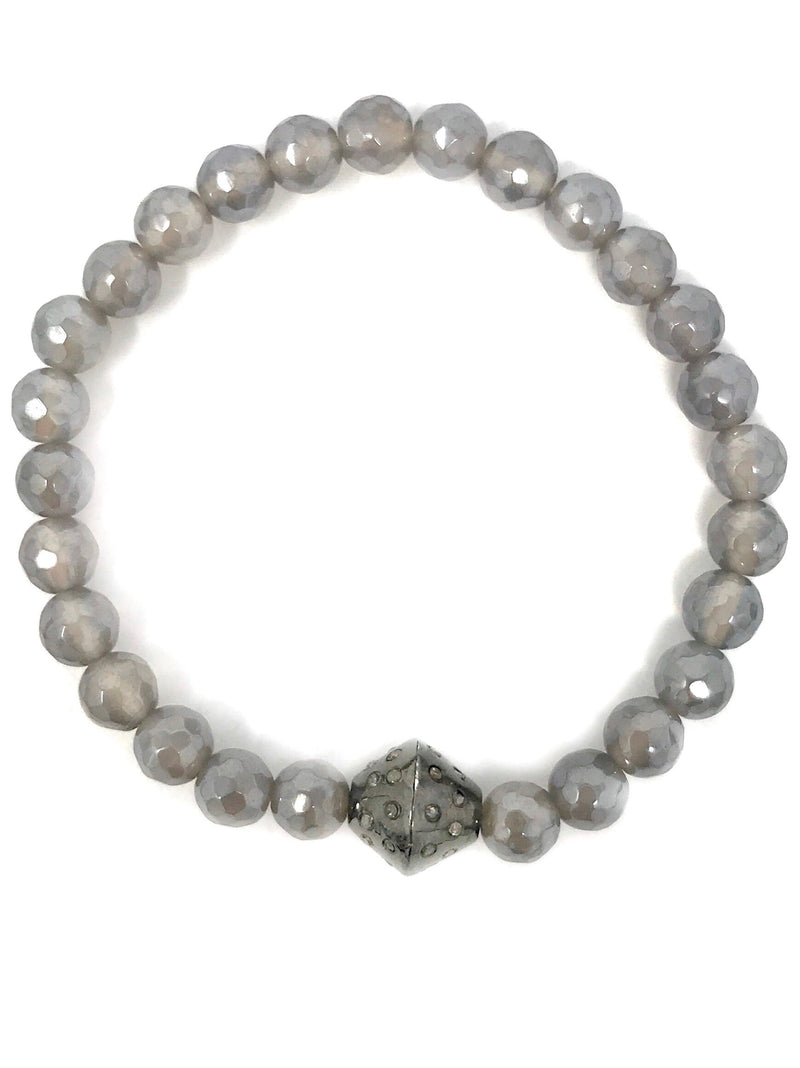 Mystic Gray Quartz Beaded Bracelet with Sterling and Diamond Center Bead