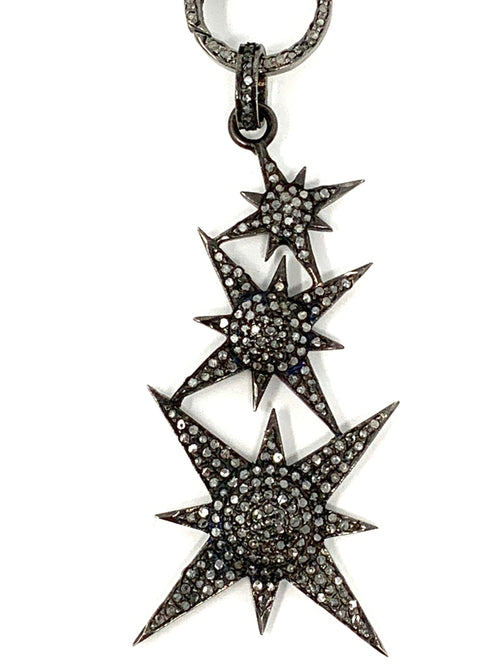 Triple Stacked Pave Diamond Star Pendant