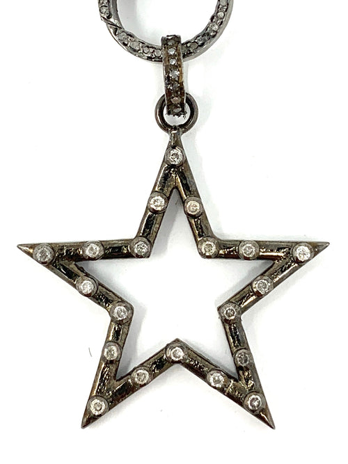 Outline Sterling Star with Dotted Diamonds