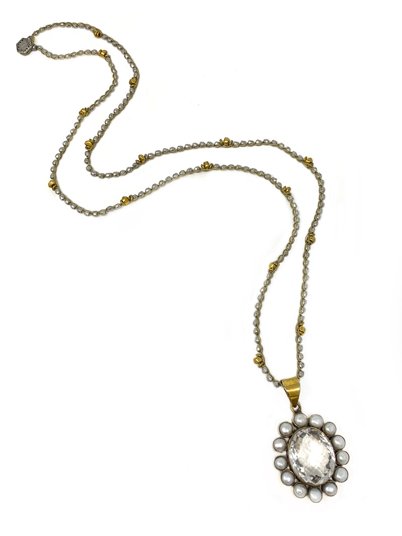 Silver and Brass Crochet Chain with Pearl and Quartz Brass Flower Pendant