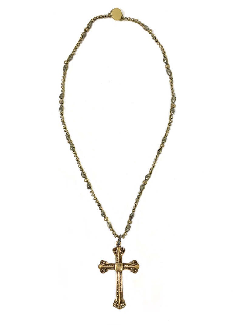 Crochet Pyrite Chain with Vintage Brass Cross Pendant