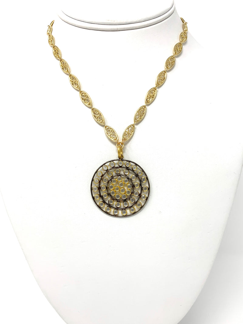 Gold Filigree Chain with Two Tone, Quartz Mini Mosaic Pendant - Necklace