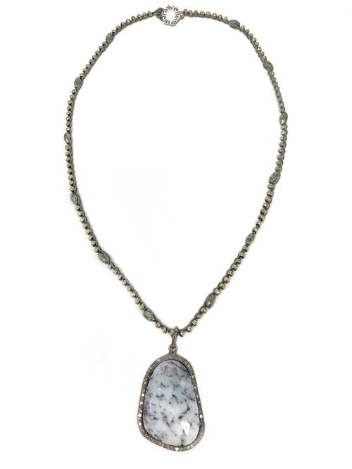 Pave Diamond Dendritic Opal Pendant on Crocheted Pyrite Chain