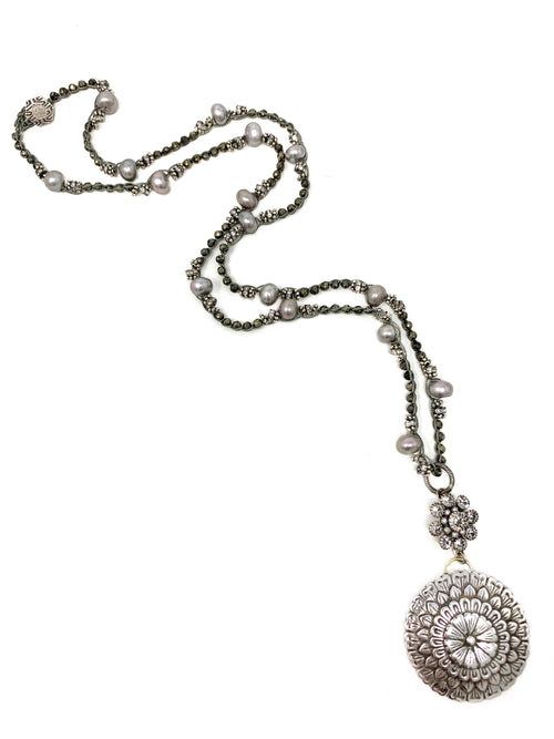 Pyrite, Silver Pearls and Rhinestone Crochet Chain with Vintage Silver Flower Pendant