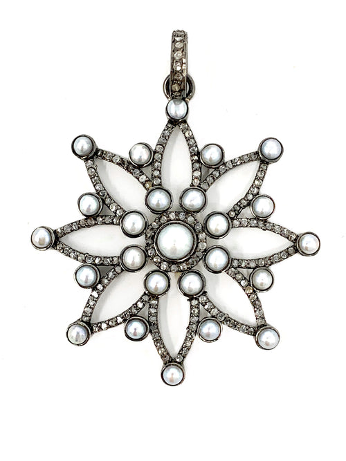 Flower Pendant with Freshwater Pearls and Pave Diamonds