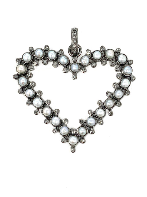 Heart Pendant with Pearls and Pave Diamonds