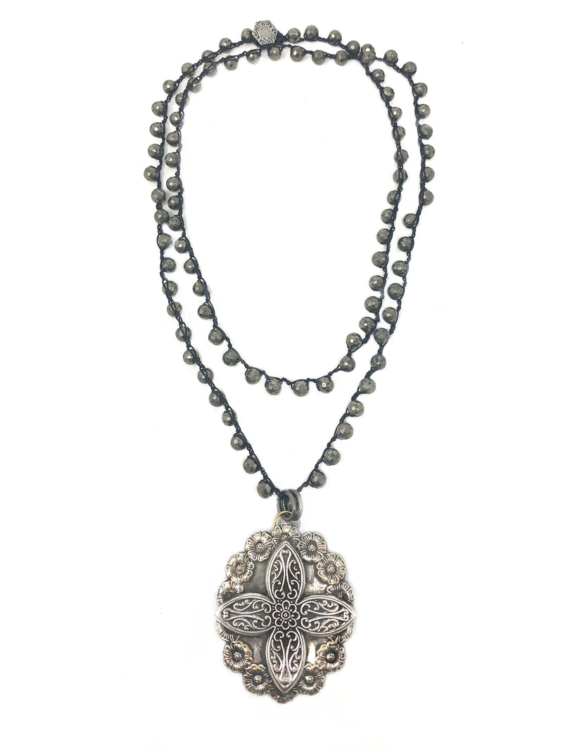 Crocheted Pyrite Chain with Vintage Decorative Silver Cross Pendant