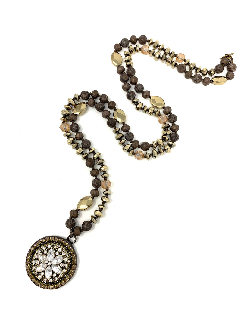 Vintage Style Rhinestone Pendant on Assorted Brown Jasper, Pyrite and Crystal Beads