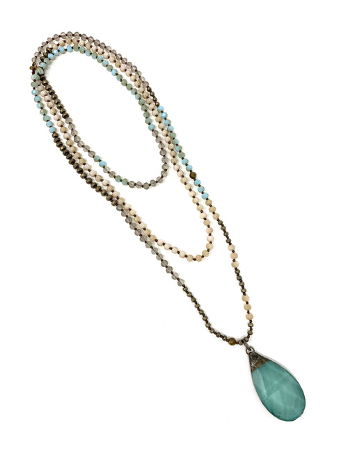 Multicolor Small Handknotted Beads with Turquoise Colored Crystal Pendant
