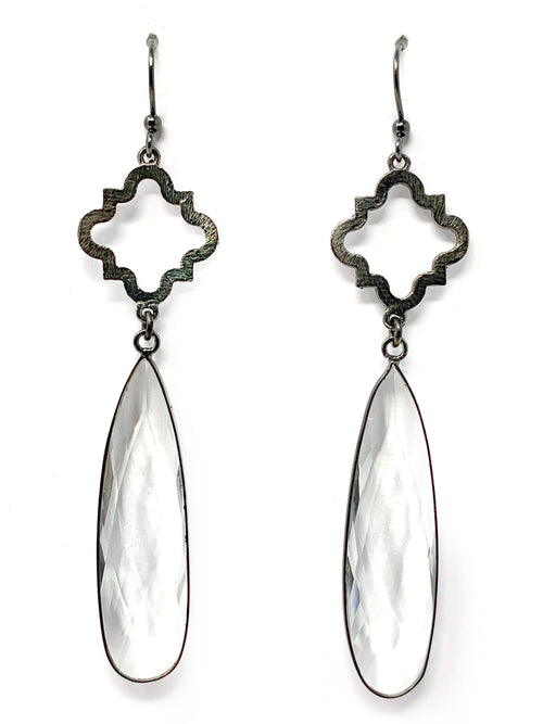 Quatrafoil and Quartz Teardrop Earrings