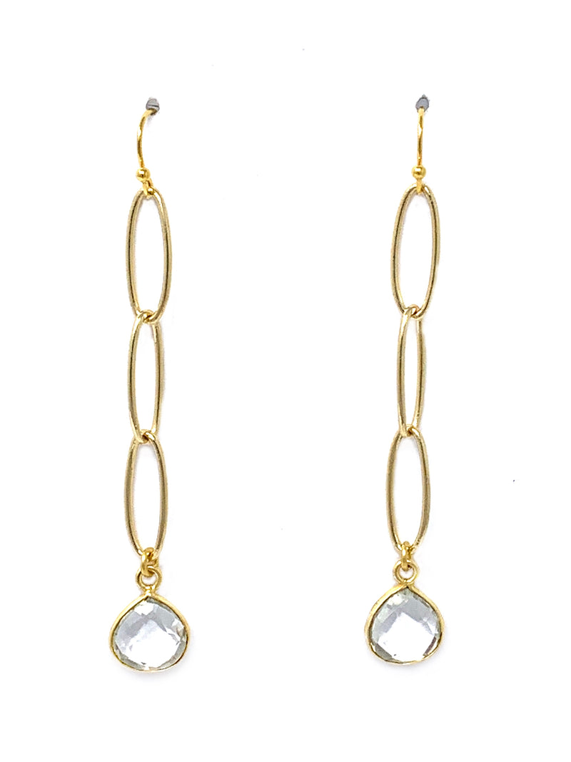 Gold Chain with Quartz Bezel Teardrop Earrings