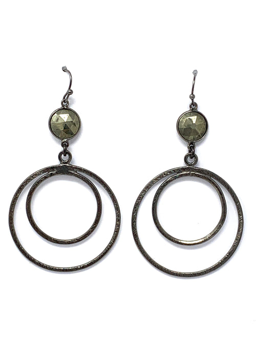 Pyrite and Gunmetal Double Ring Earrings