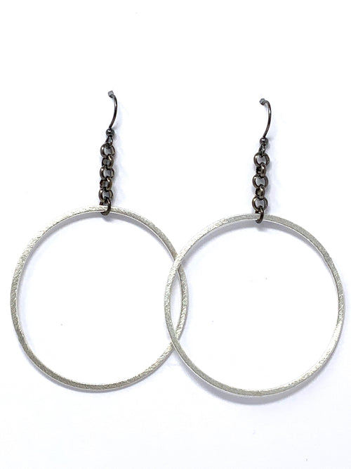 Silver and Gunmetal Chain Hoop Earrings