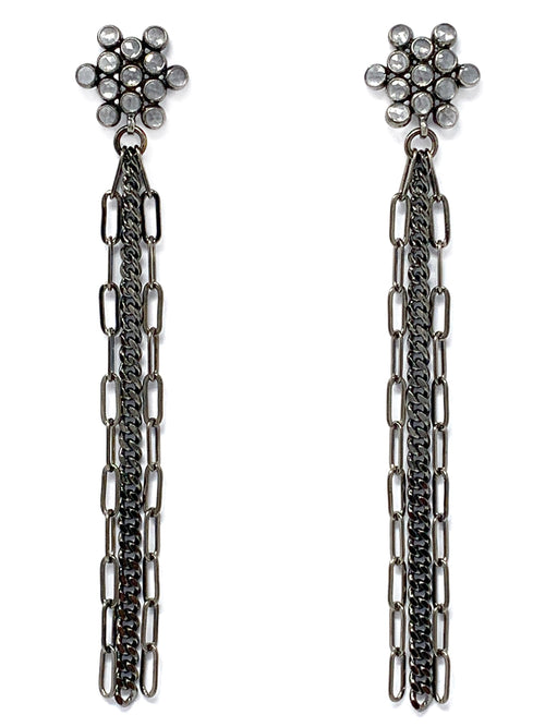 Mosaic Quartz Post and Gunmetal Fringe Earrings