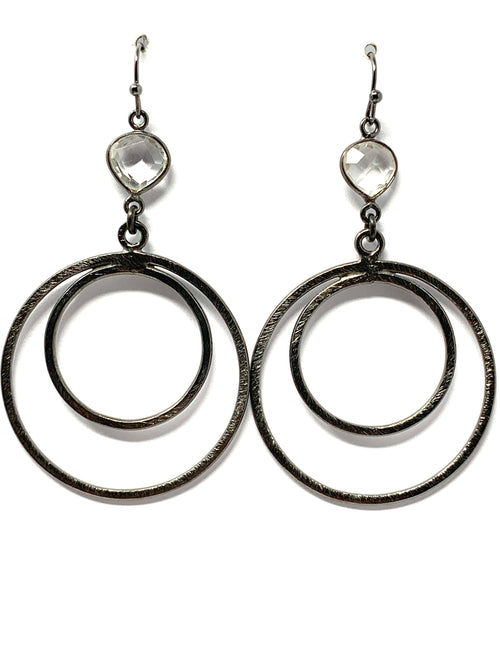 Quartz and Gunmetal Double Ring Earrings