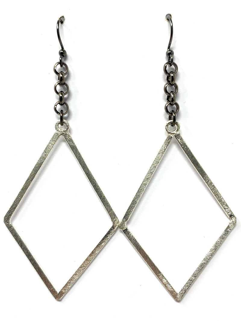 Gunmetal Chain with Silver Diamond Shaped Drop Earrings