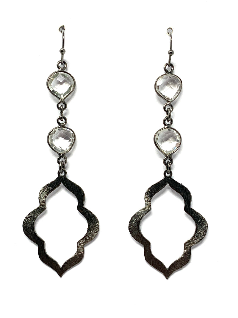 Quartz and Gunmetal Small Scallop Drop Earrings