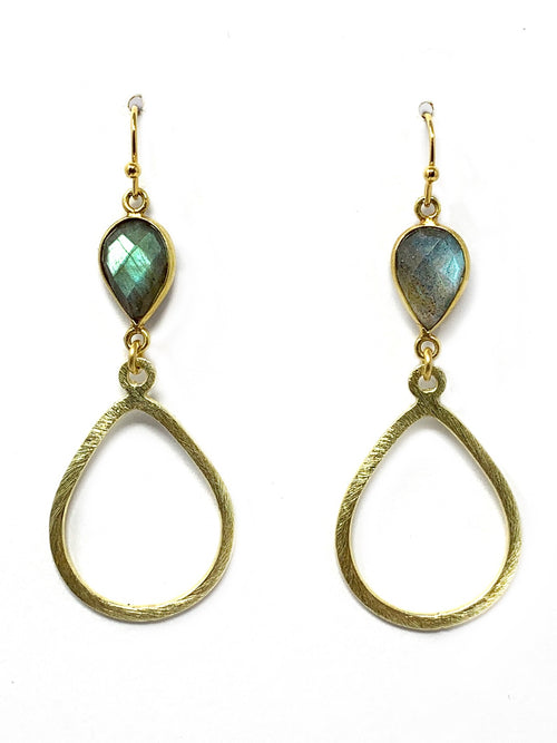 Labradorite with Gold Teardrop Shape Earrings
