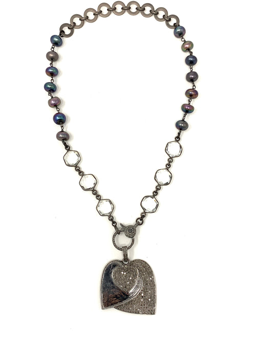 Triple Heart Pave Diamond Pendant on Quartz, Peacock Pearl and Diamond Clasp Necklace