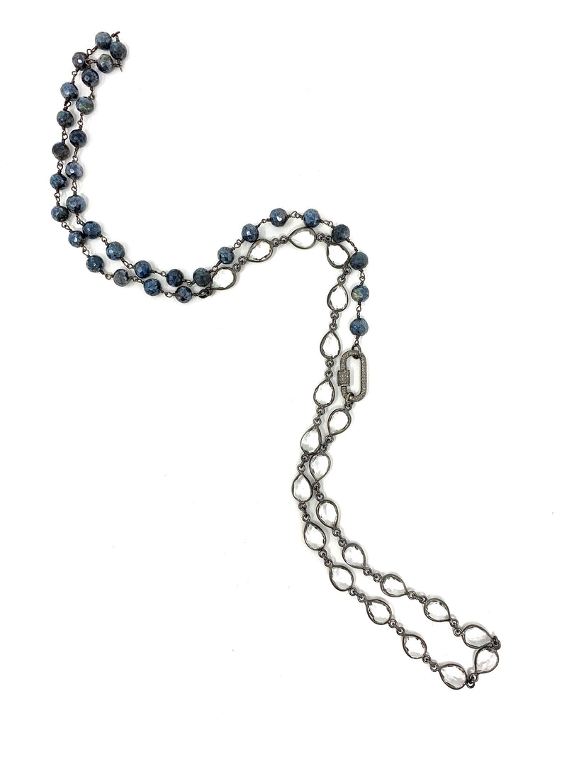 Quartz and Mystic Labradorite Chain with Diamond Carabiner Twist Lock
