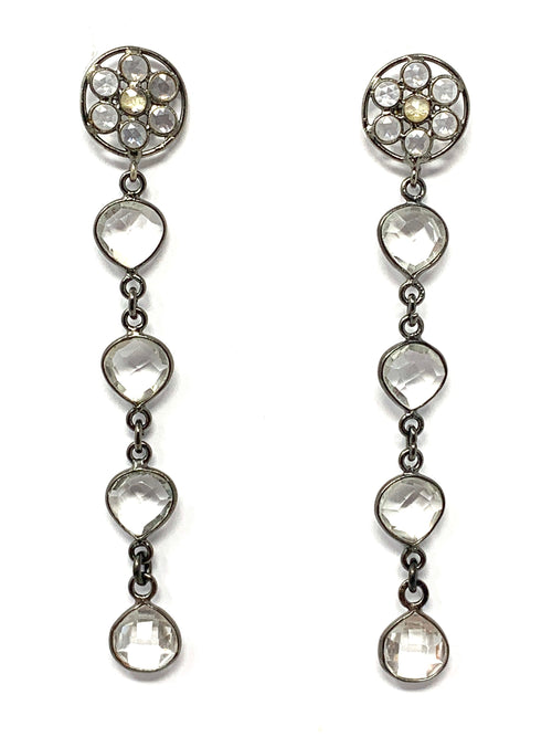 Bezel Set Quartz Post Earrings
