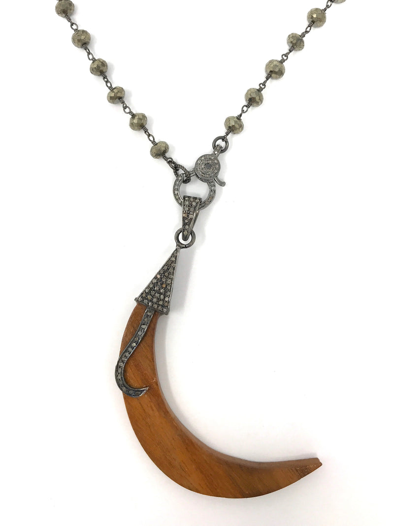 Pave Diamond and Wood Horn Shaped Pendant