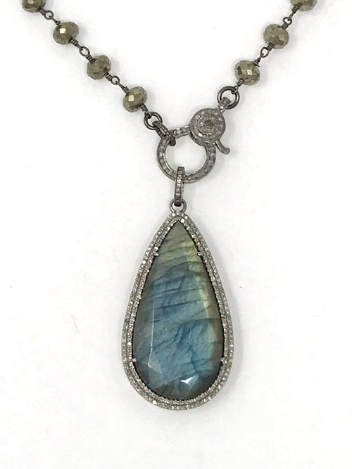 Labradorite Teardrop Shaped with Pave Diamonds Pendant #1