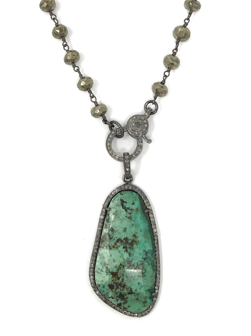 Natural Green Turquoise and Pave Diamond Pendant