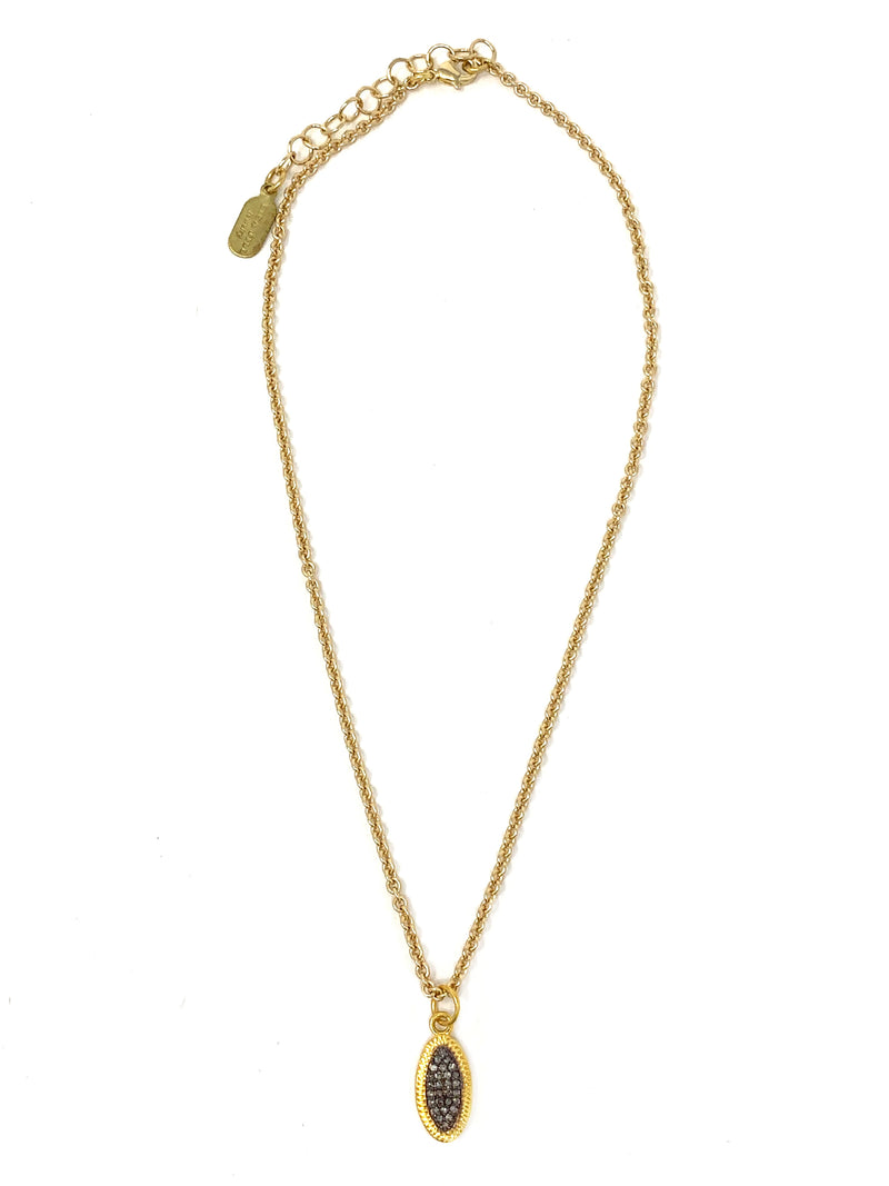 Small Two Tone, Pave Diamond Oval Disc on Gold Tone Chain
