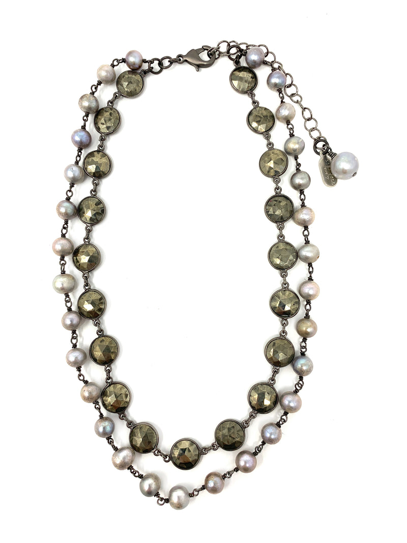 Bezel Set Pyrite and Gray Freshwater Pearl Two Layer Necklace