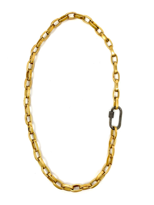 Brushed Gold Tone Brass Chain with Sterling and Diamond Carabiner Lock Clasp Necklace or Bracelet