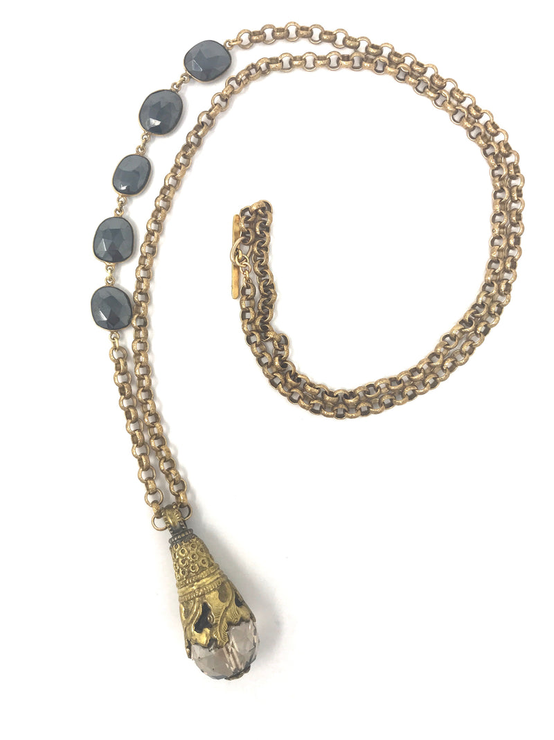 Brass Chain with Hematite Bezel Station with Tibetan Brass Crystal - Necklace