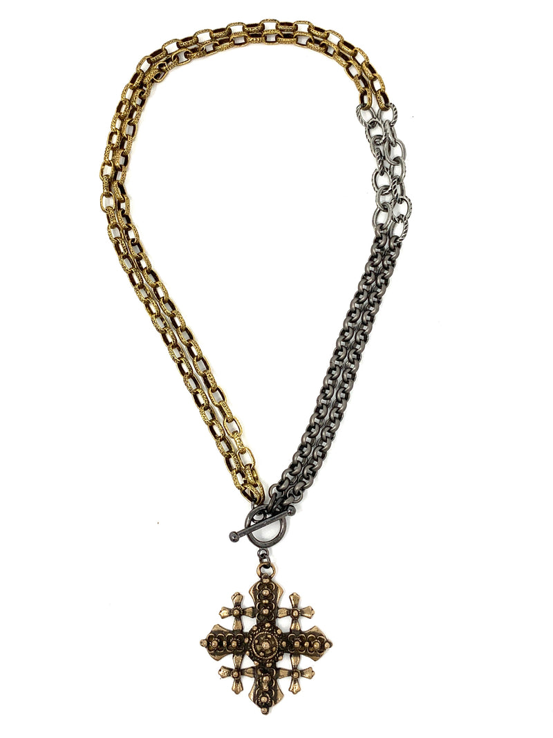 Bronze Jerusalem Cross on Two Tone Chain