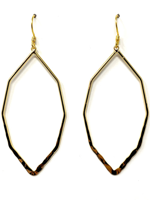 Gold Elongated Octagon Earrings