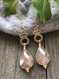 Pale Pink and Gold Teardrop Earrings