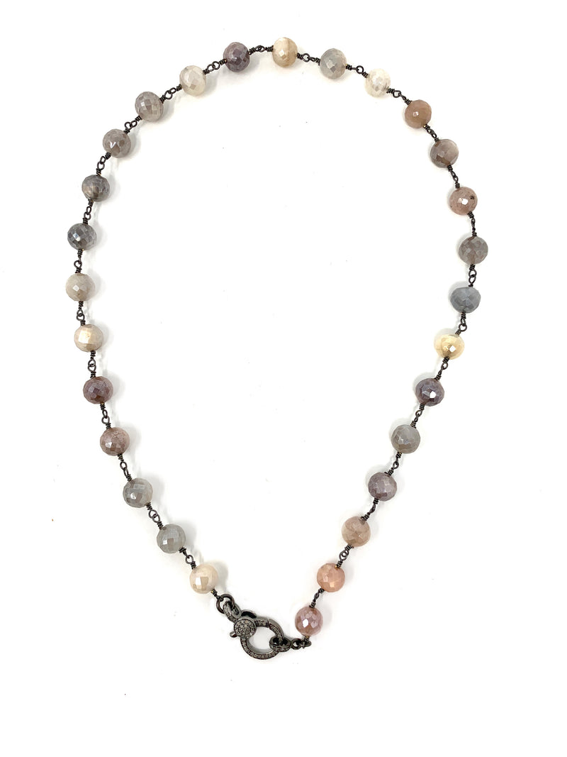 Multi Moonstone Chain with Diamond Clasp