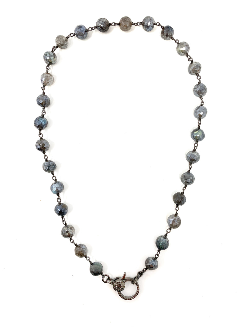 Mystic Labradorite Chain with Diamond Clasp
