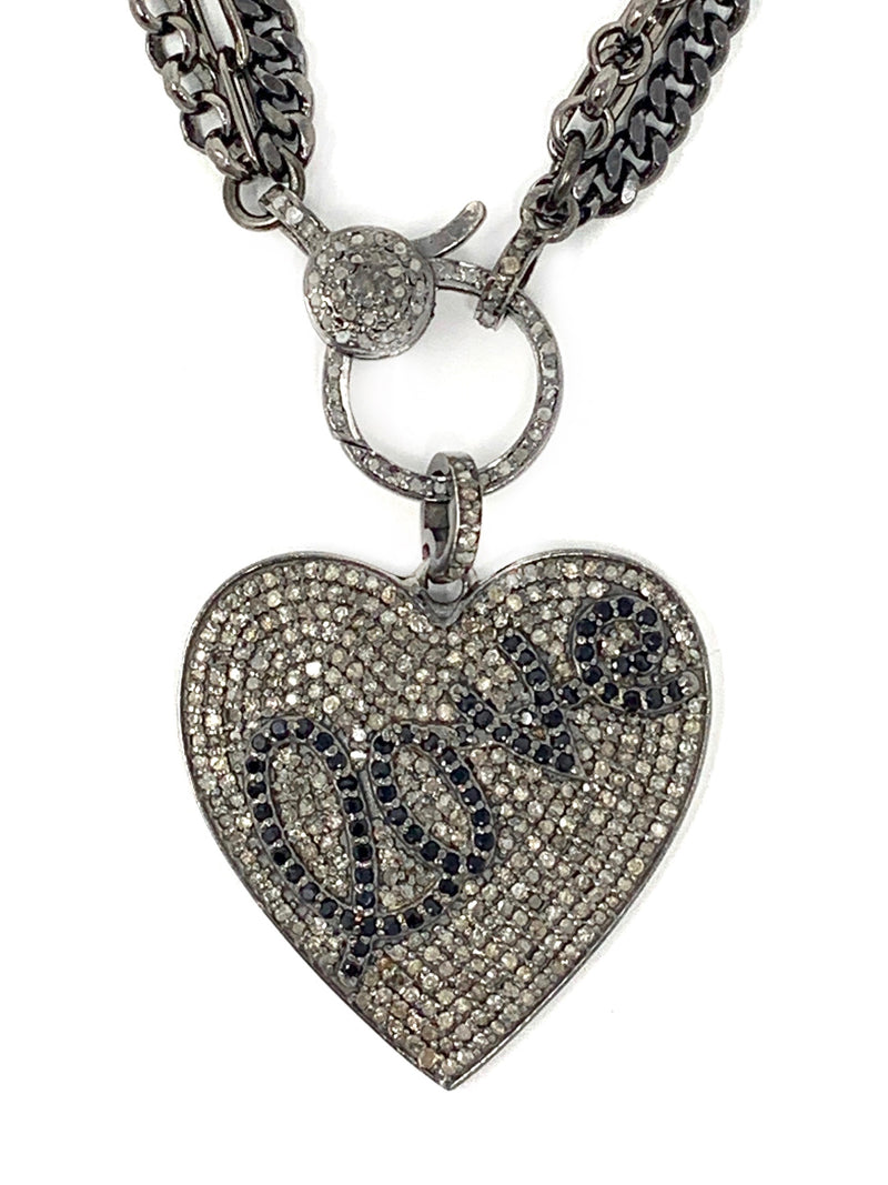Love/Heart Pave Diamond Pendant on Mixed Gunmetal and Diamond Clasp Chain