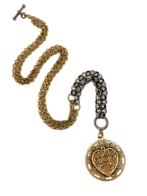Vintage Brass Heart Medallion Pendant on Gunmetal and Brass Chains