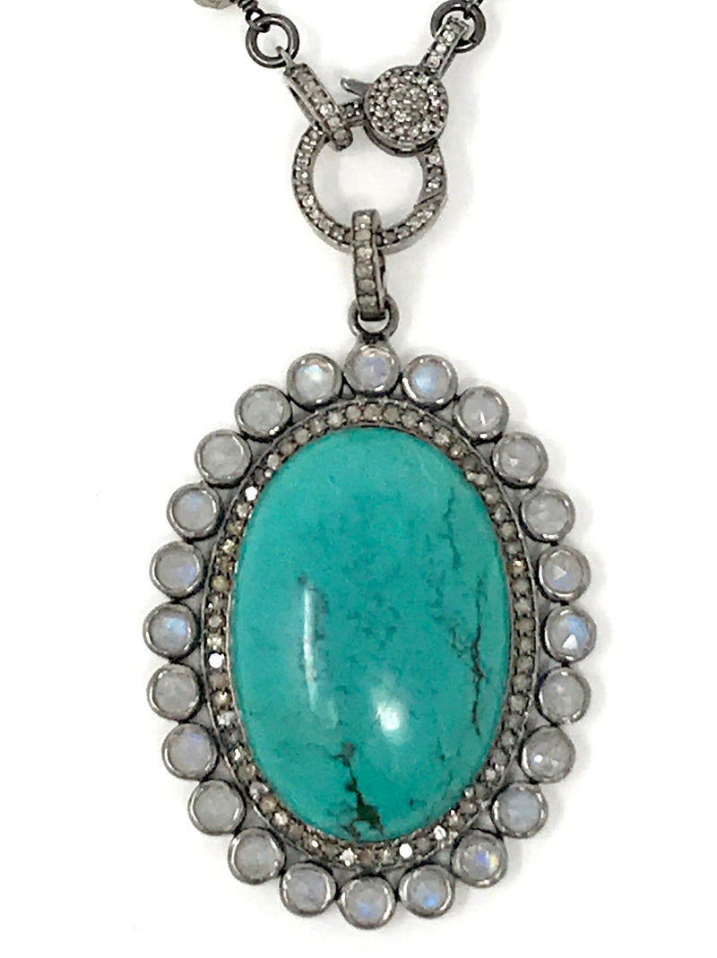 Turquoise, Moonstone and Pave Diamond Oval Flower Pendant #1