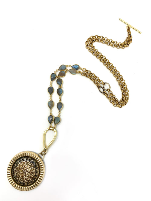 Vintage Filigree Brass Medallion with Labradorite and Rolo Chain