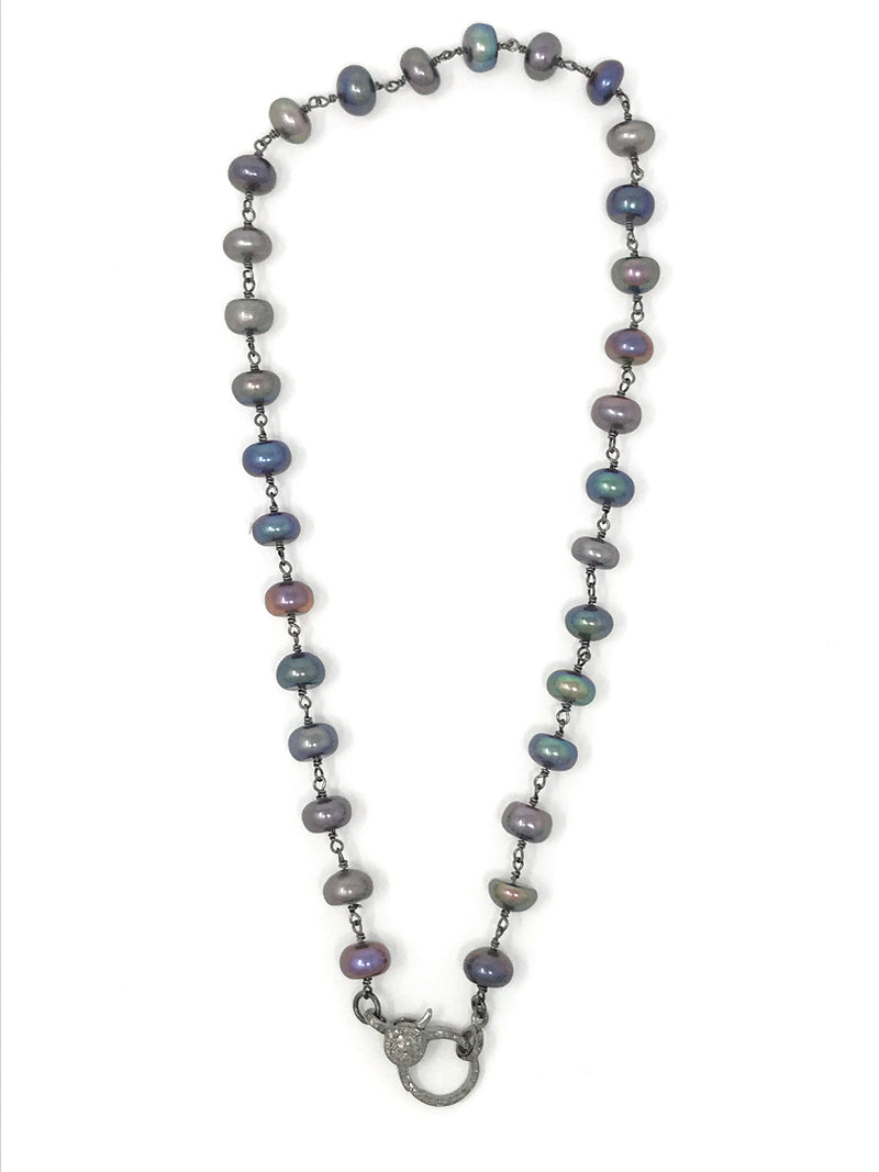 Peacock Freshwater Pearl Gunmetal Chain with Diamond Clasp 17""