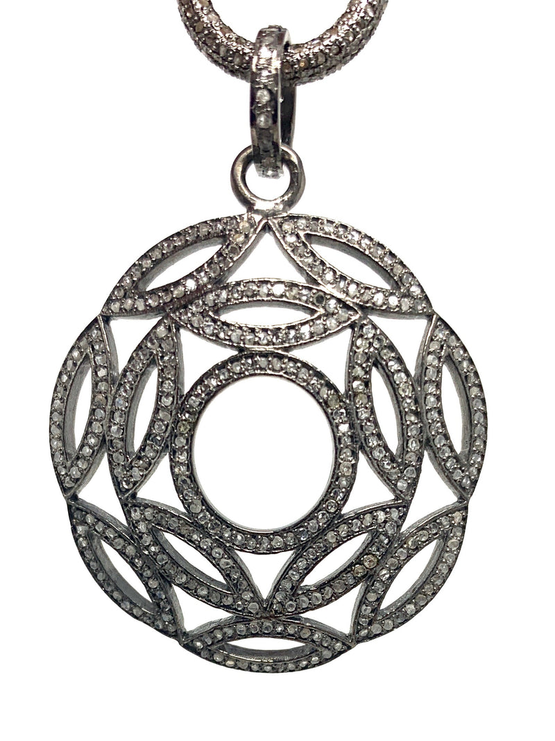 Vintage Style Round Decorative Pave Diamond Pendant