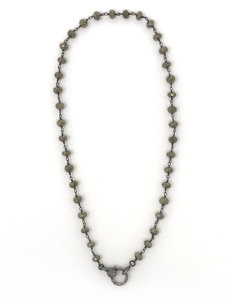 Pyrite Beaded Gunmetal Chain with Diamond Clasp