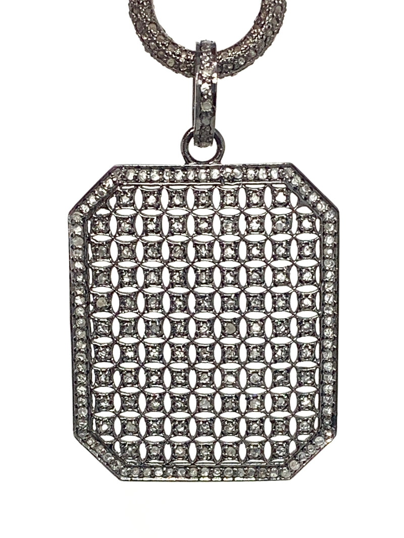 Rectangle Honeycomb Vintage Style Pave Diamond Pendant