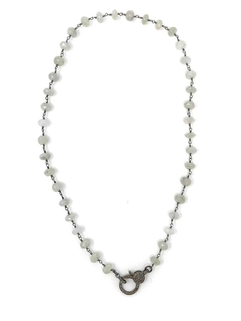 Pale Mint Colored Gemstone Gunmetal Chain with Diamond Clasp 18""